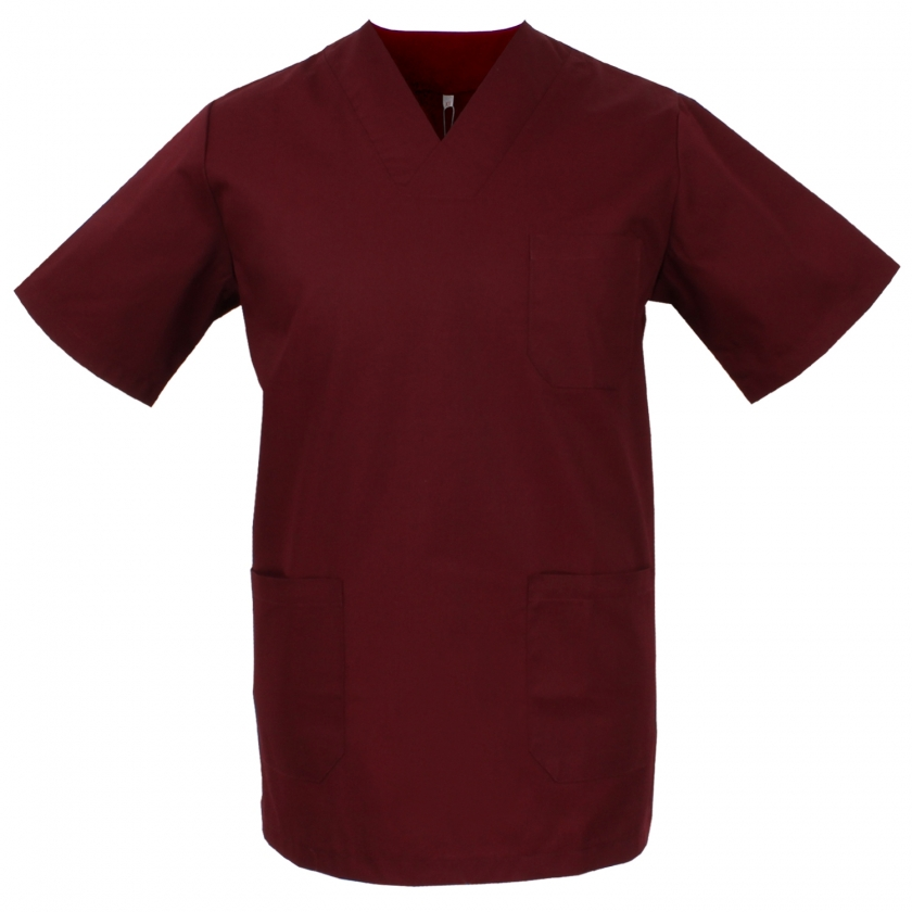 WORK CLOTHES UNISEX PEAK COLLAR SHORT SLEEVES Medical Uniforms Scrub Top- Ref.817