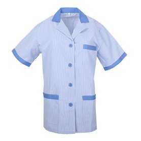 Medical Uniforms Scrub Top LADY LAPEL COLLAR SHORT SLEEVES STRIPE UNIFORM CLINIC HOSPITAL CLEANING Ref: T820